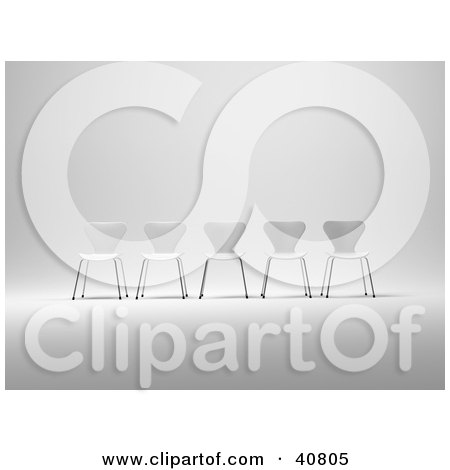 Clipart Illustration of Five 3d White Chairs Lined Up In A Row by Frank Boston