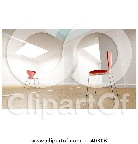 Clipart Illustration of a 3d Room Interior With A Dividing Line Between Two Red Chairs Facing Each Other by Frank Boston