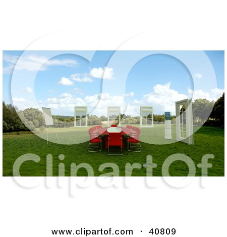 Clipart Illustration of a 3d Red Conference Table In A Green Meadow, Surrounded By Windows by Frank Boston