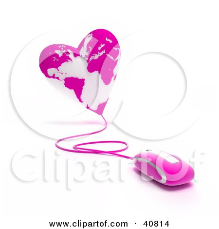 Clipart Illustration of a 3d Computer Mouse Wired To A Pink Heart Globe by Frank Boston