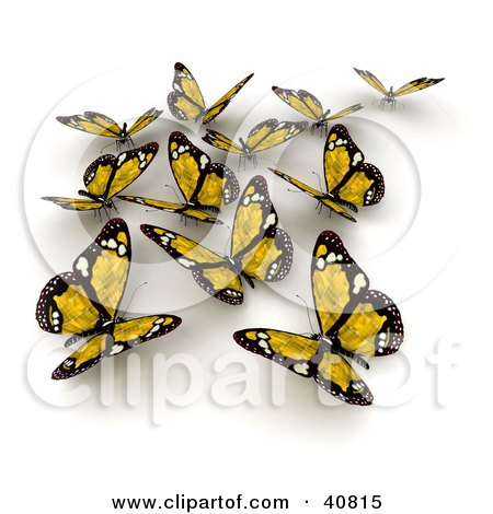 Clipart Illustration of a Group Of Yellow Solar Panel Butterflies by Frank Boston