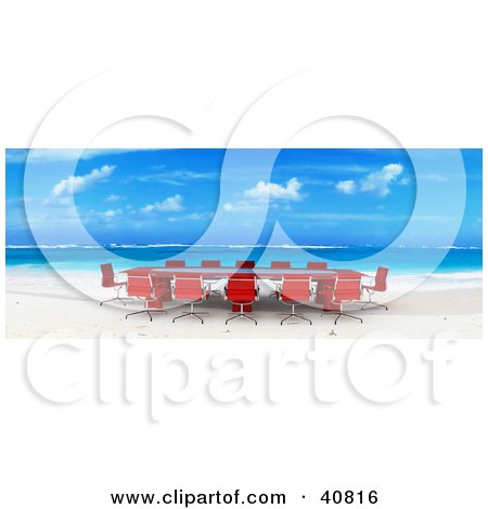 Red 3d Conference Table And Chairs Set Up On A Beach With White Sands And Blue Waters Posters, Art Prints
