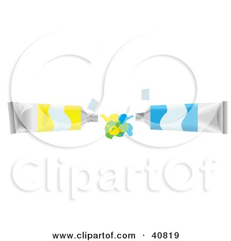 Clipart Illustration of Yellow And Blue Paint Tubes Squirting And Mixing Their Colors by Dennis Holmes Designs