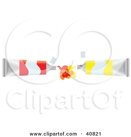 Clipart Illustration of Red And Yellow Paint Tubes Squirting And Mixing Their Colors by Dennis Holmes Designs