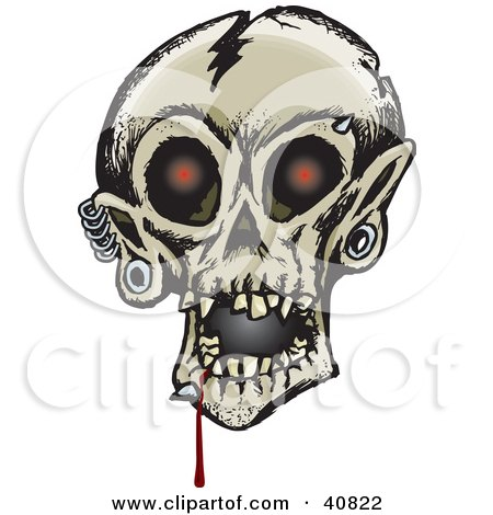 Clipart Illustration of a Creepy Human Skull With Glowing Red Eyes, Dripping Blood And Eyebrow, Chin And Ear Piercings by Dennis Holmes Designs