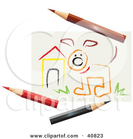 Clipart Illustration of a Children's Art Drawing Of A Dog By A House, With Colored Pencils by Dennis Holmes Designs