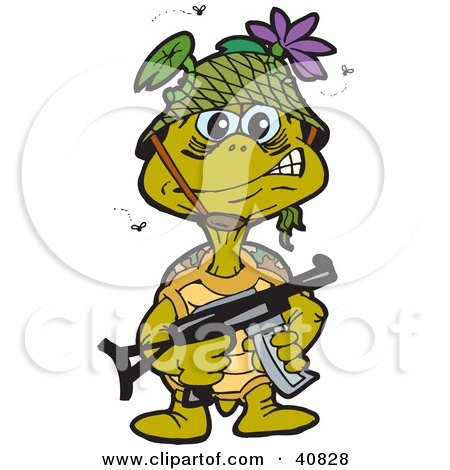 Clipart Illustration of a Stinky Turtle Soldier Surrounded By Flies, Carrying A Gun by Dennis Holmes Designs