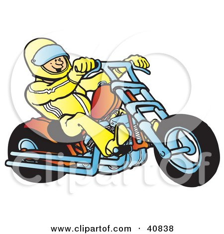 Clipart Illustration of a Biker Wearing A Helmet And Suit, Riding An Orange Chopper by Snowy