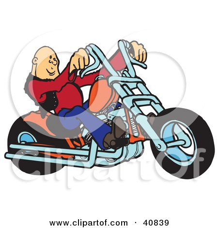Clipart Illustration of a Cool Bald Biker Dude Riding His Orange Chopper by Snowy