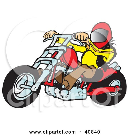Clipart Illustration of a Biker Dude In A Helmet, Riding A Red Chopper by Snowy
