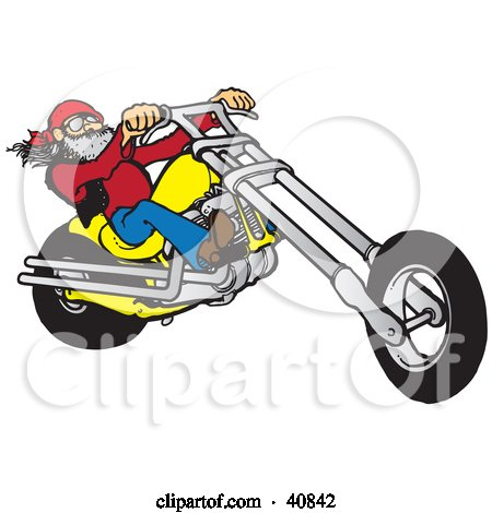 Clipart Illustration of a Cool Motorcycle Dude With A Beard ...