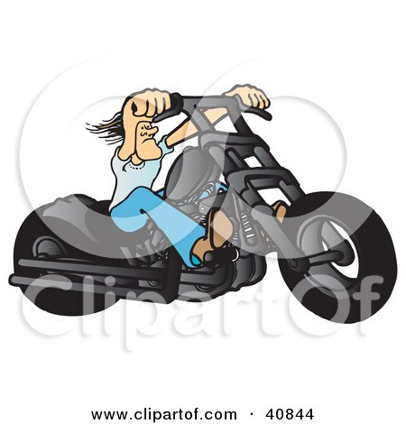 Tough Biker Dude Resting His Arms On His Chopper Handles While Taking A Ride On His Black Motorcycle Posters, Art Prints
