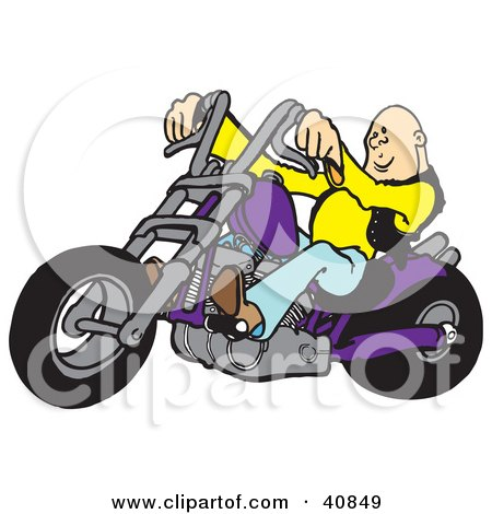 Clipart Illustration of a Cool, Bald Biker Dude Driving His Purple Chopper by Snowy