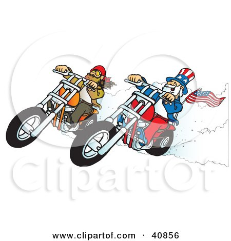 Clipart Illustration of a Bearded Biker Dude Racing Choppers With Uncle Sam by Snowy