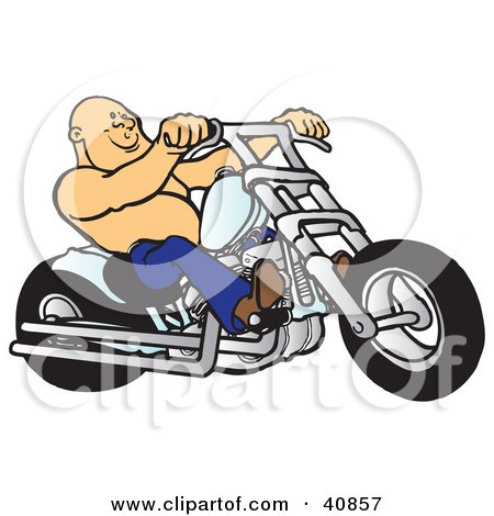 Clipart Illustration of a Bald And Shirtless Biker Dude Riding His Chrome Chopper by Snowy