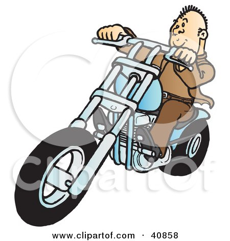 Clipart Illustration of a Cool Biker Dude Dressed In Brown, Riding On His Blue Chopper by Snowy