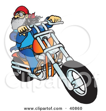 Clipart Illustration of a Bearded Biker Dude Riding His Orange Chopper by Snowy
