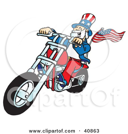 Clipart Illustration of a Carefree Uncle Sam Riding A Chopper by Snowy