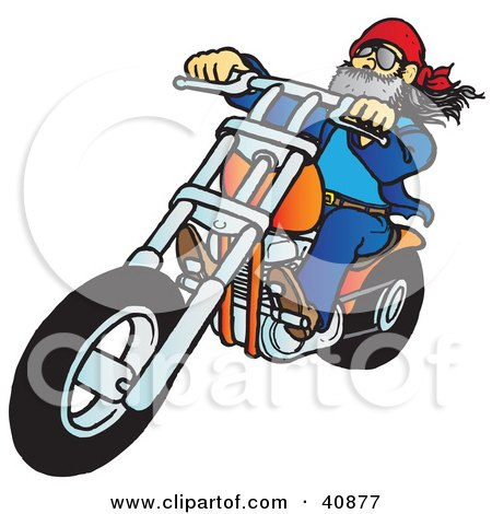 Clipart Illustration of a Biker Dude With A Beard, Riding His Orange Chopper by Snowy