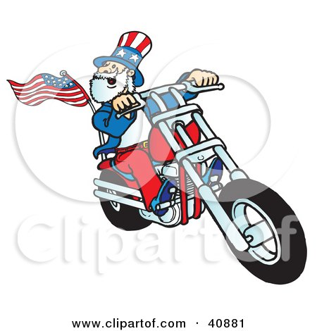 Clipart Illustration of an Uncle Sam Biker Dude Riding A Chopper by Snowy