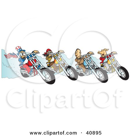 Clipart Illustration of a Hog, Two Biker Dudes And Uncle Sam Racing Choppers by Snowy