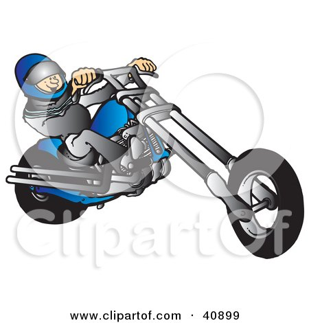 Clipart Illustration of a Biker Wearing A Helmet And Suit, Riding A Blue Chopper by Snowy