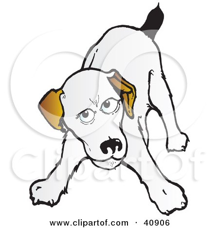 Clipart Illustration of a Playful Jack Russell Terrier Crouching Down by Snowy