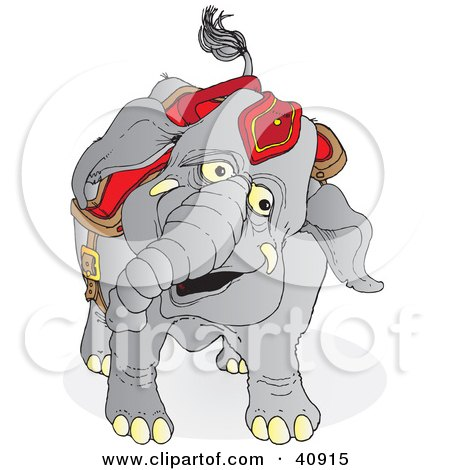 Clipart Illustration of a Happy Gray Circus Elephant In Red Riding Gear by Snowy