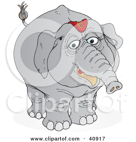 Clipart Illustration Of A Friendly Gray Circus Elephant