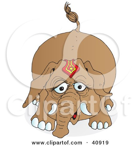 Clipart Illustration of a Playful Brown Circus Elephant by Snowy