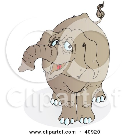 Clipart Illustration of a Happy Brown Elephant by Snowy