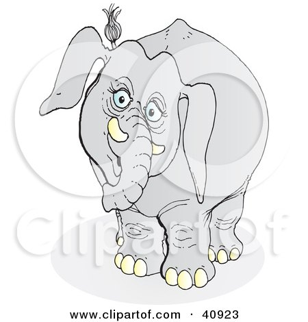 Clipart Illustration of a Nosy Gray Elephant Eavesdropping by Snowy