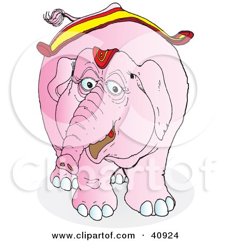 Clipart Illustration of a Friendly Pink Circus Elephant In Riding Gear by Snowy