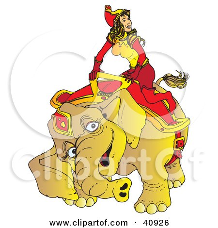 Clipart Illustration Of A Happy Circus Elephant Kneeling To Assist A Beautiful Female Handler Onto Its Back