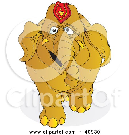 Clipart Illustration of a Happy Brown Circus Elephant by Snowy
