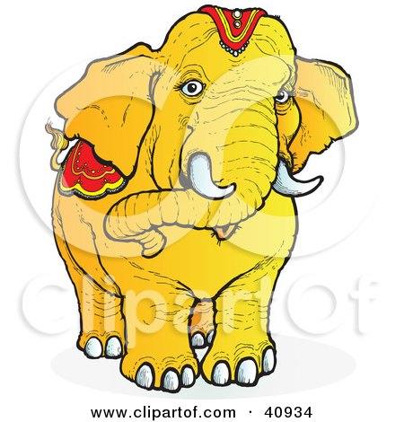 Clipart Illustration of a Curious Orange Elephant Facing ...