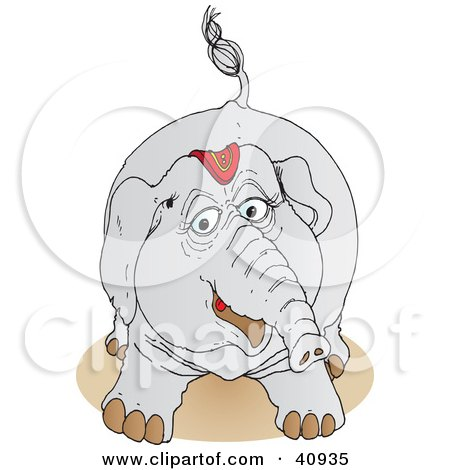 Clipart Illustration of a Playful Gray Circus Elephant In Its Riding Gear by Snowy