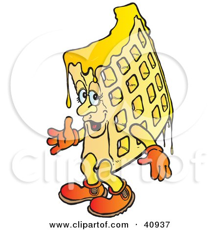 Clipart Illustration of a Dripping Waffle Character by Snowy