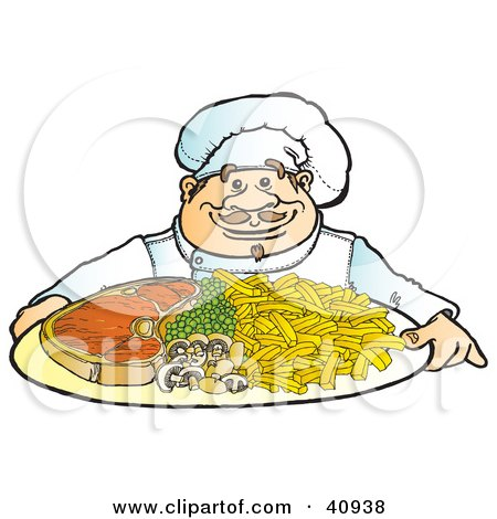 Clipart Illustration of a Friendly Male Chef Serving A Dinner Of Steak, Veggies And Fries by Snowy