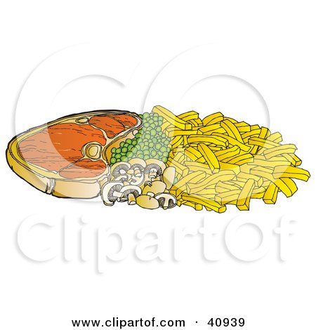 Clipart Illustration of a Steak Dinner With Peas, Mushrooms And Fries by Snowy