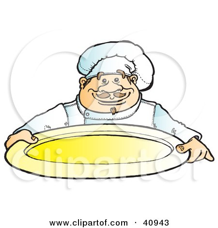 Clipart Illustration of a Friendly Male Chef Holding An Empty Platter by Snowy