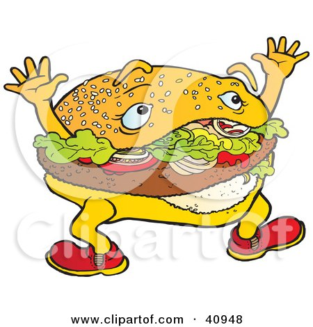 Clipart Illustration of a Tempting Hamburger Character Waving His Arms by Snowy