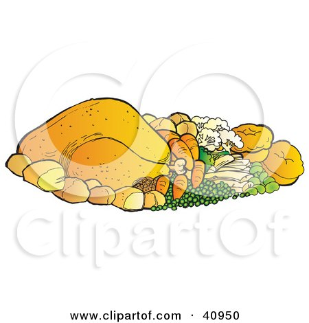 Clipart Illustration of a Chicken Or Turkey Dinner With Veggies And Rolls by Snowy