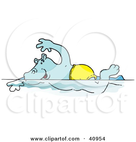 Clipart Illustration of a Blue Hippo Swimming In A Pool by Snowy