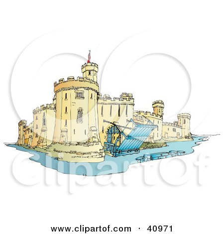 Clipart Illustration of a Castle Surrounded By A Moat, With The Draw Bridge Up And Secured by Snowy