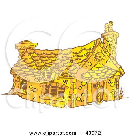 Clipart Illustration of a Yellow Gingerbread House With Chimneys by Snowy
