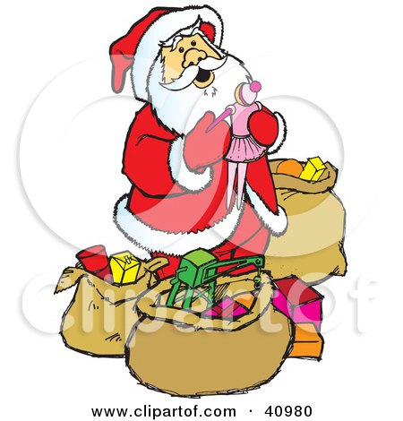 Clipart Illustration of Santa In A Red Suit, Admiring The Gifts And Toys In His Sacks by Snowy