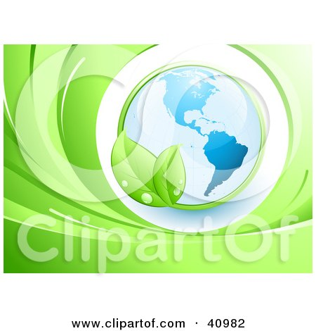 Clipart Illustration of a Green Leafy Vine Circling Around Planet Earth With The Americas Featured by beboy