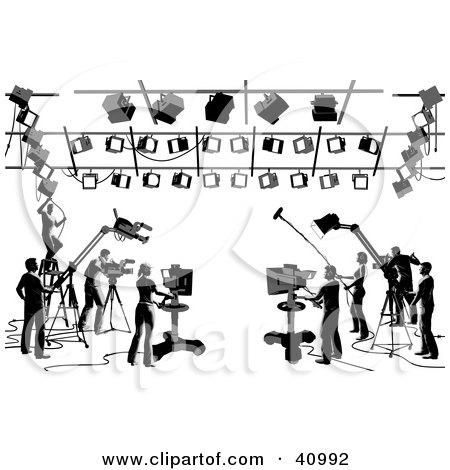 Clipart Illustration of Silhouetted Black And White Camera, Light And Sound Workers In A Studio by Tonis Pan