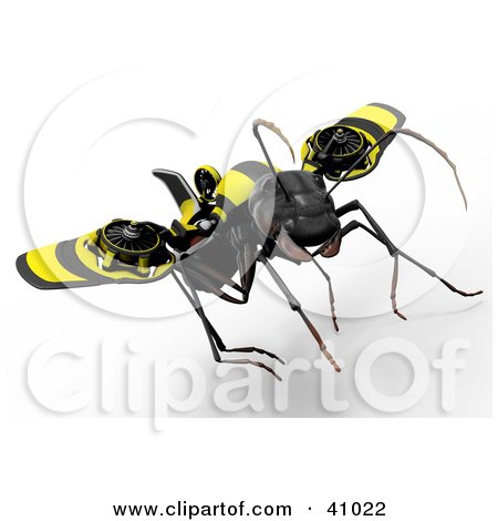 Clipart Illustration of a 3d Ant Flying And Attached To Futuristic Propellers by Leo Blanchette
